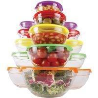 15Pc Glass Bowl Set + Lids