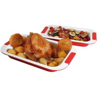 Pk 2 Cream Roasting Trays W Ceramic Coat