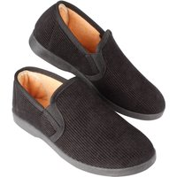 Mens Black Ribbed Slippers Size 10