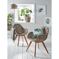 Round Rattan & Teak Dining Chair