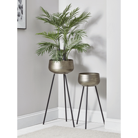 Two Brushed Gold Standing Planters