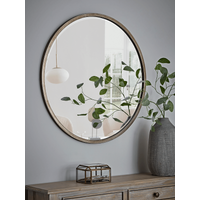 Burnished Silver Bevelled Round Mirror - Large