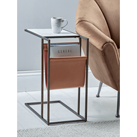 Marble Side Table with Magazine Rack