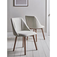 Two Upholstered Dining Chairs - Stone
