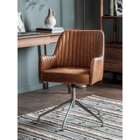 'New Fluted Leather Swivel Chair - Tan
