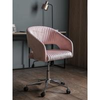 Fluted Velvet Office Chair - Blush
