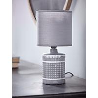 Textured Grid Table Lamp - Smoke Grey