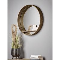 Round Shelf Wall Mirror