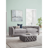 Dora Buttoned Four Seater Sofa - Navy Velvet