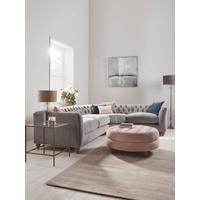 NEW Dora Buttoned Modular Corner Sofa Mallow Linen Cotton Blend - Right Hand Facing