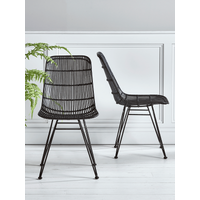 Flat Rattan Dining Chair - Black