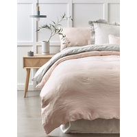 Washed Linen Single Duvet Cover - Soft Blush