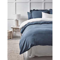Washed Linen Double Duvet Cover - Soft Indigo