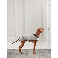 Grey Herringbone Wool Dog Coat - Large