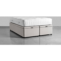 Double Storage Bed Base - Ash Linen Cotton Blend