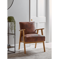 'Relaxed Lounge Chair - Tan Leather