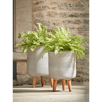 Two Geometric Etched Standing Planters - Light Grey