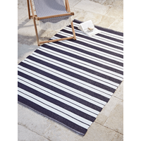 NEW Indoor Outdoor Coast Rug - Alternating Blue Stripe