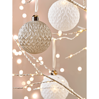 Six Textured Grey & White Baubles