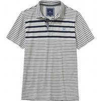 Bridgewater Stripe Polo Shirt in Mid Grey