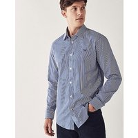 Crew Slim Fit Stripe Shirt In Ultramarine Blue