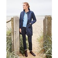Forres Quilted Long Jacket in Dark Navy