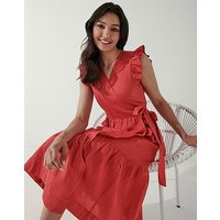 Crew Clothing Sleeveless Frill Sleeve Wrap Dress