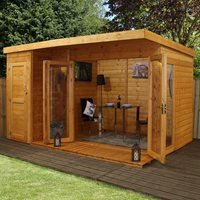 Garden Summer House with Side Shed by Mercia - 12' x 8'
