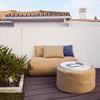 Product photograph showing Trimm Copenhagen Outdoor Mini Rocket Daybed - Taupe