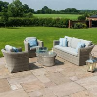 Maze Rattan Oxford 3 Seat Sofa Set with Fire Pit Coffee Table