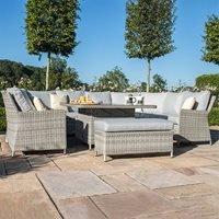 Maze Rattan Oxford Royal U-Shaped Sofa Set with Rising Table