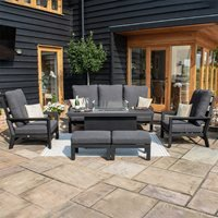 Maze Rattan Manhattan Reclining 3 Seat Sofa Set  with Fire Pit Coffee Table