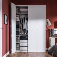 VOX 4YOU BI FOLD 4 DOOR WARDROBE with Built in Drawers in White - 206cm
