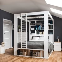 Vox 4 You King 4 Poster Bed with Storage and Shelves in White
