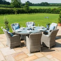 Maze Rattan Oxford Oval Ice Bucket Dining Set with Venice Chairs