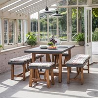 Garden Trading Chilson Table, Bench and Stool Dining Set for Indoor Or Outdoor Use