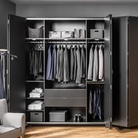 Vox Simple 4 Door Wardrobe - Black