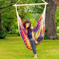 Product photograph showing Brasil Hanging Chair Hammock In Rainbow