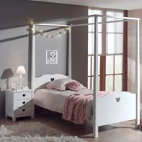 Amori Kids Four Poster Bed in White