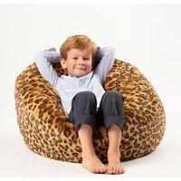 Product photograph showing Kids Faux Fur Leopard Bean Bag