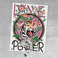 Product photograph showing Luckies Print Club London Love Is Power Jigsaw Puzzle