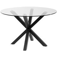 Arya Round Glass Dining Table with Cross Legs - Natural