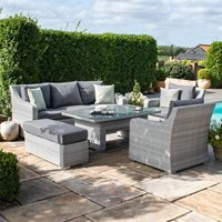 Product photograph showing Maze Rattan Ascot 3 Seat Sofa Dining Set With Rising Table