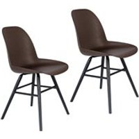 Product photograph showing Zuiver Pair Of Recycled Coffee Albert Kuip Chairs