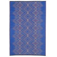 Product photograph showing Fab Hab Jodhpur Outdoor Rug In Blue - 120cm X 180cm