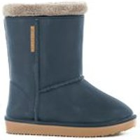 Waterproof Sheepskin Style Kids Snug-Boot Wellies in Blue - UK 7 - 7.5 (Euro 24/25)
