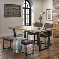 Julian Bowen Brooklyn Dining Set with Brooklyn Chairs and Upholstered Bench - 4 Chairs