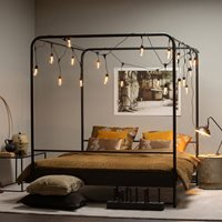 Woood Kingsize Black Metal Four Poster Bed