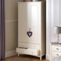 Product photograph showing Julian Bowen Cameo Combination Wardrobe In Stone White