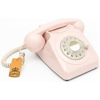 Product photograph showing Gpo 746 Retro Rotary Dial Phone In Carnation Pink